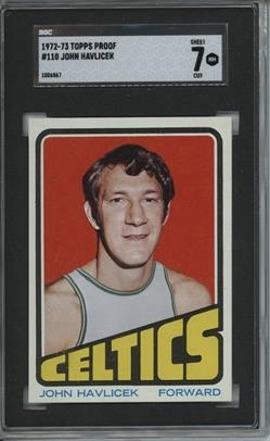 1972 Topps #110 John Havlicek 9 card progressive proof.