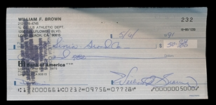 FB Willie Brown Signed Check